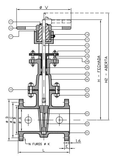 Válvula Gaveta desenho técnico